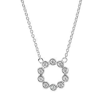 "Dew Sterling Silver Open Circle Round Cubic Zirconia 18"" Necklace  98428CZ"