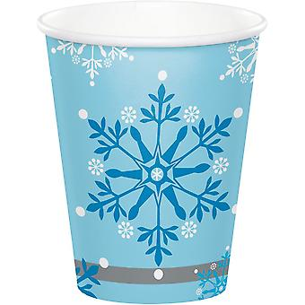 Snowflake Paper Cups - Frozen/Princess Themed Birthday Party x 8