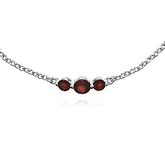 Classic Round Garnet Three Stone Gradient Bracelet in 925 Sterling Silver 270L011102925