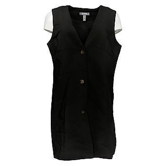 Lisa Rinna Collection Femmes's Vest Bouton mi-longueur Avant Noir A353877