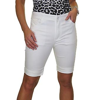 Frauen's Turn Up Plus Size Mid Rise Stretch Jeans Style Shorts Chino Sheen 14-24