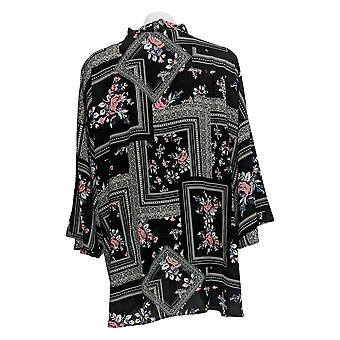 Laurie Felt Women's Plus Sweater Open Front Impresso Kimono Black A309543