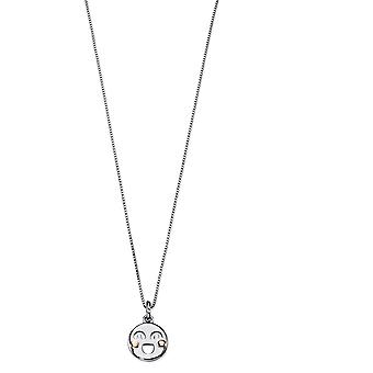 D for Diamond Childrens 925 Sterling Silver Rhodium Plated Smiley Face Diamond Pendant Necklace of Length 35.5cm