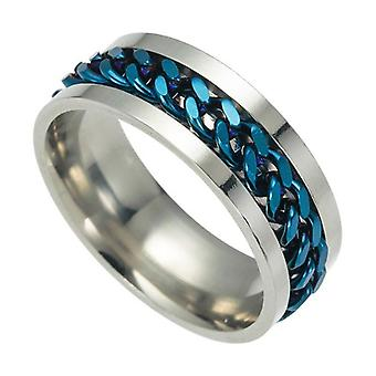 Letdiffery Punk Spinner Chain Men Rotatable Ring, Stainless Steel Rotatable
