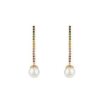 Pitkät moniväriset värikkäät sateenkaari Majorica Pearl Gemstone Gold Drop -korvakorut