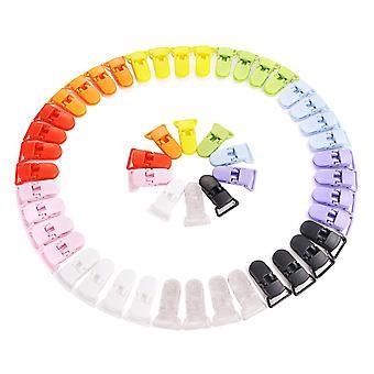 Kunststoff Baby Dummy Schnuller Clips | Bunte T-Clip Baby Clip | Schnuller-Bib-Inhaber | 50 Stück | 10 Farben