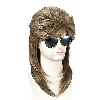 Men's Wig 70's 80's Men's Rock Party Long Curly Hair Role Halloween Play Head Cover
