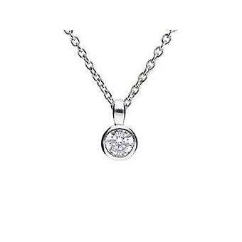 Diamonfire 925 Sterling Silver Cubic Zirconia Rub Over Bezel Set Paciência Pendant Necklace 41-46cm