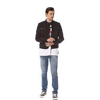 Trussardi Jeans Regular Biker Quilted Leather Black Jacket