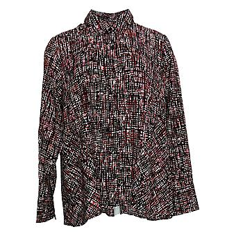 Belle By Kim Gravel Women's Top Abstract Print Blouse Rouge A369709