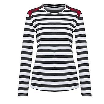 Women&Apos;s Stripe Patch O-nyakú vékony póló, kültéri gördeszka hosszú ujjú sport