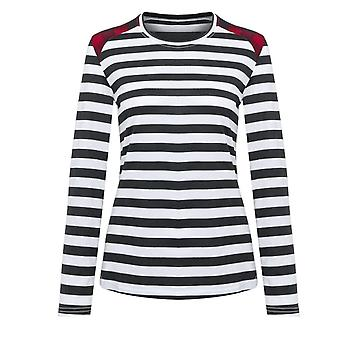 Women's Stripe Patch O-neck Slim T-paita Rento Muoti, Top Outdoor Skeittilauta