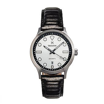 Heritor Automatic Bradford Leather-Band Watch w/Date - Argent & Noir