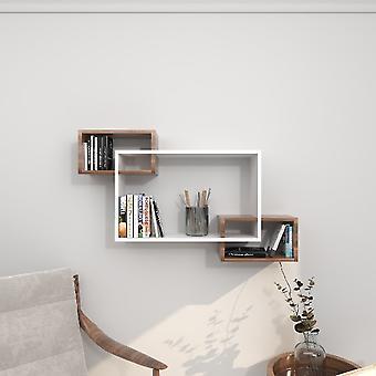Davis Shelf Color blanco, Wenge en Melamine Chipboard, L100xP20xA59.2 cm