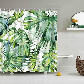 Тропический зеленый лист растений Palm Кактус Душ Ванная занавеска