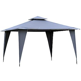 Outsunny 3.5x3.5m Side-Less Outdoor Canopy Tent Gazebo w/ 2-Tier Roof Steel Frame Garden Party Gathering Shelter Grey