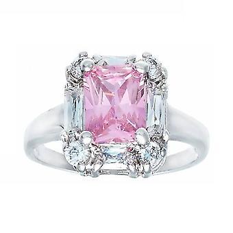 Beautiful Polished Emerald Cut Pink Stone Baguette Ring