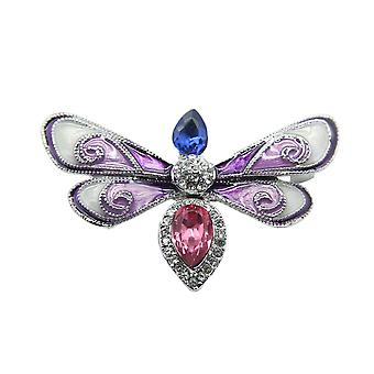 Brooch Pin Butterfly Moth Corsage Painted Diamond Inlaid Alloy Ladies Brooch