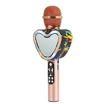 Sydämen muoto langaton bluetooth karaoke mikrofoni,4 in 1 led valot ktv