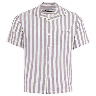 Portuguese Flannel Lavanda Stripe Short Sleeve Shirt - Lavender