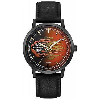 Harley Davidson Men's Metallic Flames | Black Leather Strap | Flame Dial 78A123 Watch