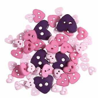 LAST FEW - 2.5g Pink & Purple Mini Hearts Buttons for Sewing and Haberdashery