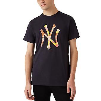 ニューエラ メンズ ニューヨーク ヤンキース MLB カモ ロゴ クルー ネック T シャツ トップ ティー - ネイビー