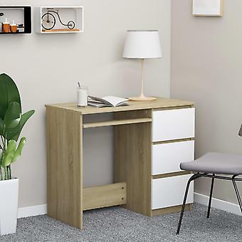 vidaXL bureau blanc sonoma-chêne 90 x 45 x 76 cm panneau de particules