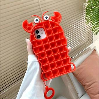 N1986N iPhone 12 Pro Max Pop It Case - Silicone Bubble Toy Case Anti Stress Cover Lobster Red