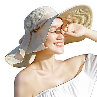 Sommar stor Brim Halmhatt Floppy Wide Brim Sun Cap Bowknot Beach vikbara hattar