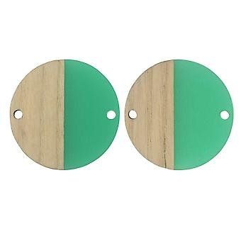 Final Sale - Zola Elements Wood & Resin Connector Link, Coin 28mm, 2 Pieces, Emerald Green
