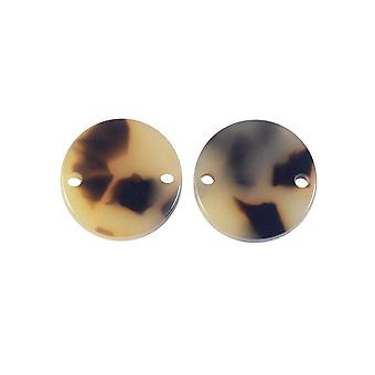 Zola Elements Acetate Connector Link, Coin 14mm, 2 Pieces, Light Brown Tortoise Shell