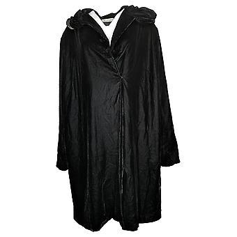 The Muses Closet Women's Coat Reg Velvet Snap Front Black A389667