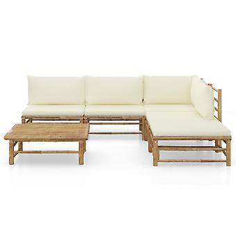 vidaXL 6-tlg. Garten-Lounge-Set mit Cremeweißen Kissen Bambus