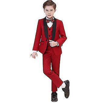 140Cm vermelho meninos coloridos ternos formais 5 peça slim fit dresswear set x2449