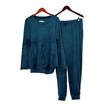 Carole Hochman Women's Silky Velour Jogger Lounge Set Blue A368281