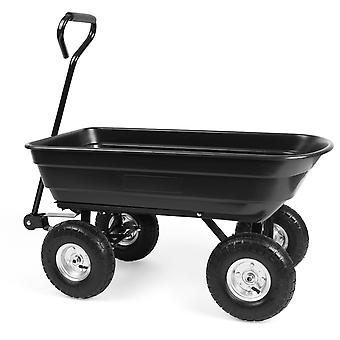 Garden cart with tipping function - 75 liters - Steel - Black