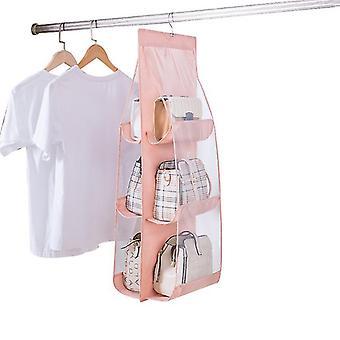 6 Pocket Foldable Hanging Bag Purse, Handbag Organizer Storage Closet Hanger(Pink)