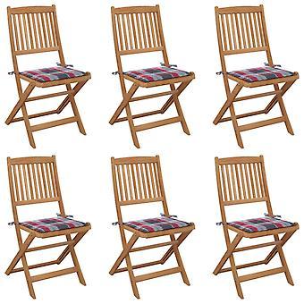 vidaXL Foldable garden chairs 6 pcs. with cushion solid wood acacia