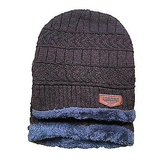 Wintermützen Warme atmungsaktive Wollstrickmütze (braunes Set)