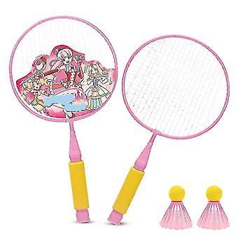 Sulkapallo mailat peli pieni sulkapallo pelaaminen mailat pallon kanssa (vaaleanpunainen)