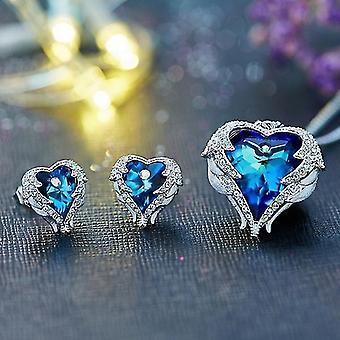 Angel Wings Blue Crystal Heart Jewelry Set 3Pcs/Set