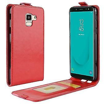 Funda de cuero integrada con múltiples bolsillos para Samsung Galaxy J2 CORE - Rojo