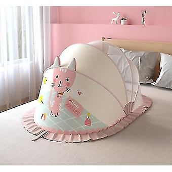 Foldable Baby Mosquito Nets And Bottomless And Free Installation And Storage(Pink)