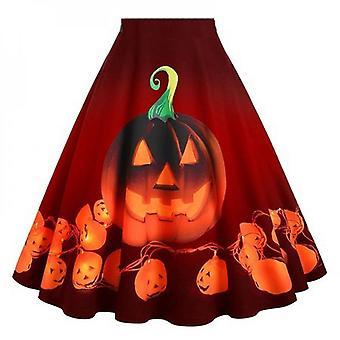 Women Halloween Swing Skirt Party Pumpkin Fancy Costume Dress