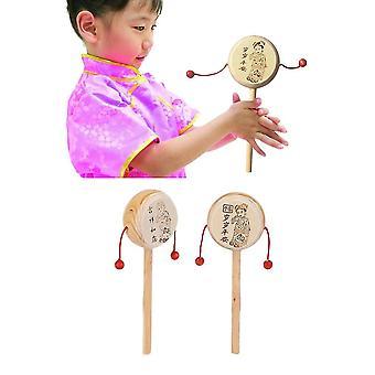 בייבי קידס ילד עץ רעשן תוף ילד מוסיקלי צעצוע סגנונות סיניים