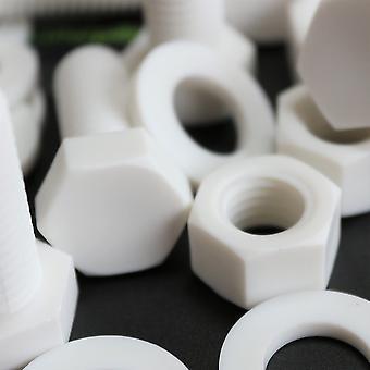 20x Vit Hex Head Polypropylen (PP) Plastmuttrar och bultar, Brickor, M12 x 30mm