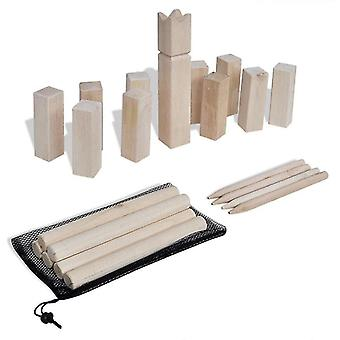 Bouncy balls wooden kubb game set outdoor lawn garden family game blocks and batons