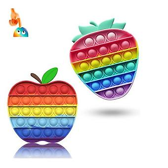 Hywell Apple Strawberry Pop It Fidget Toys, Pop It Popit Games, Popite, Juguetes antiestrés para niños y adultos