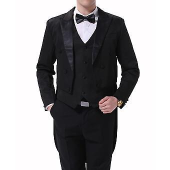 Mile Men's Solid Color Slim Banquet Tuxedo Three-piece Suit (top + Vest + Pants) Black